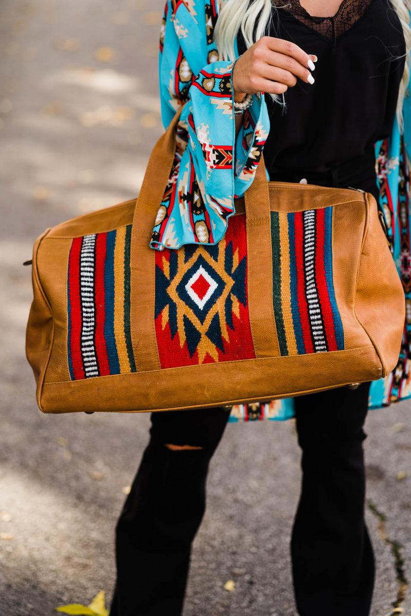 Travelin' Cowboy Duffle Bag (Red, Brown Aztec)