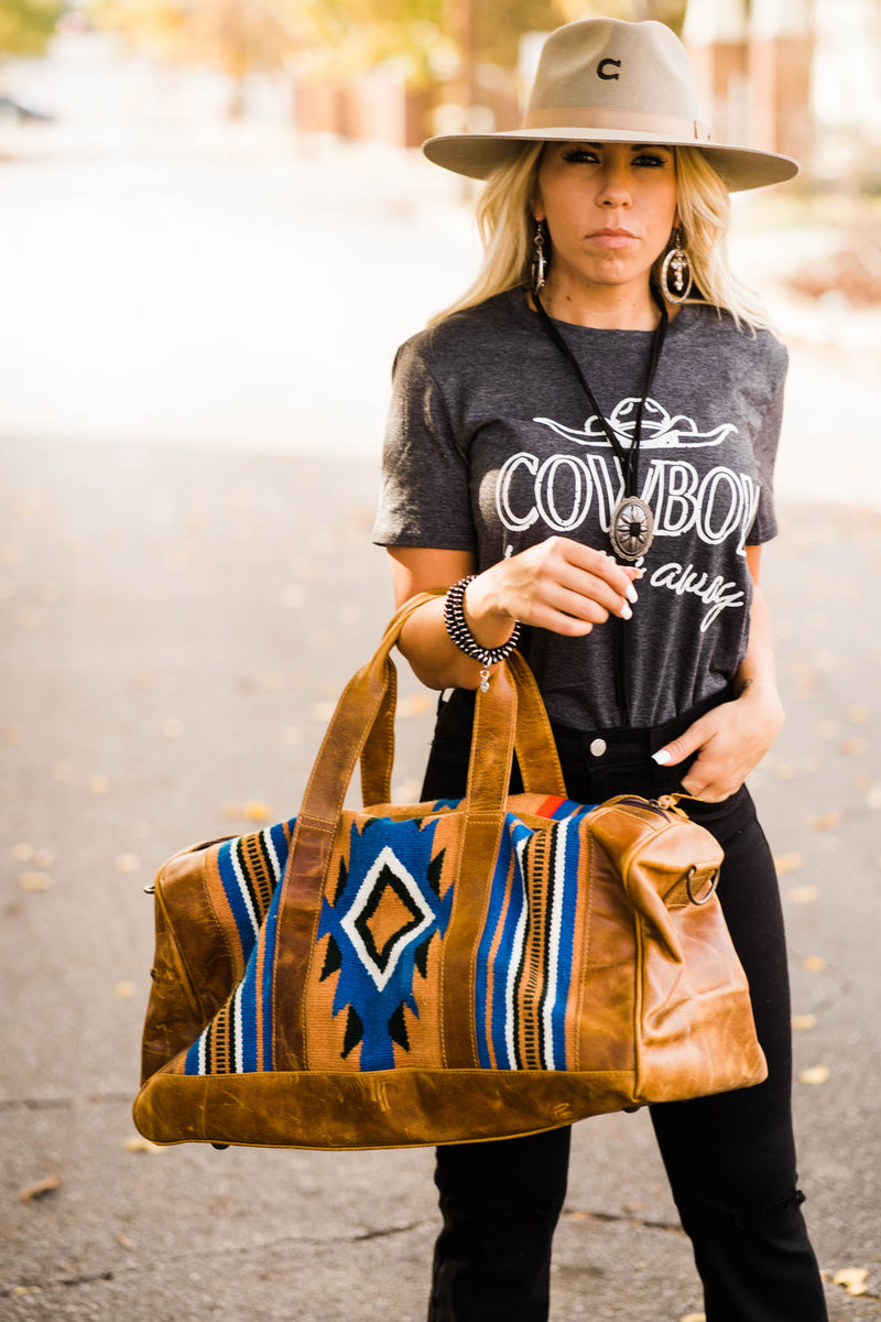 Travelin' Cowboy Duffle Bag (Blue, White, Aztec)