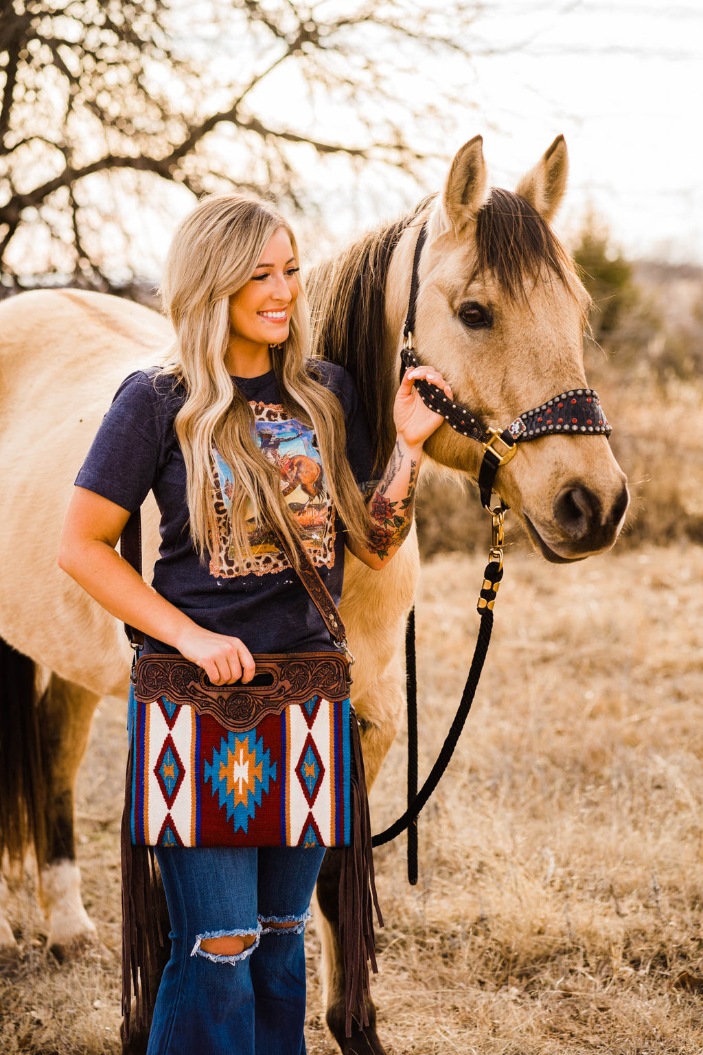SADDLE UP PURSE (BURNIN' BROWN TURQUOISE)