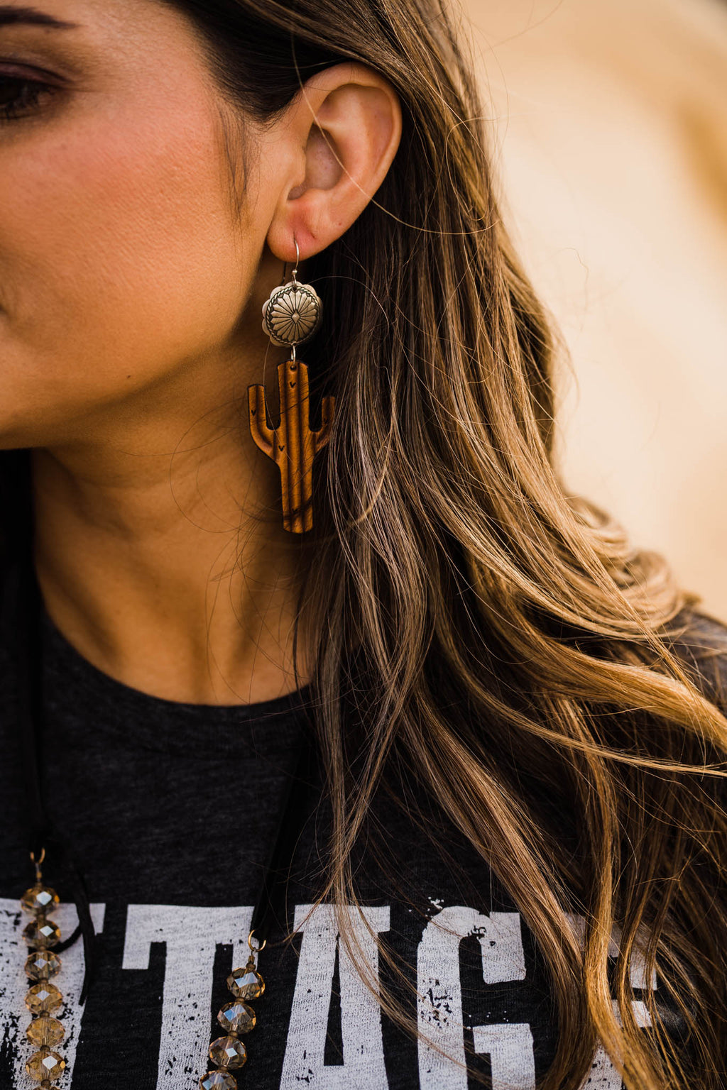 LEATHER CACTUS W/ SILVER CONCHO EARRINGS