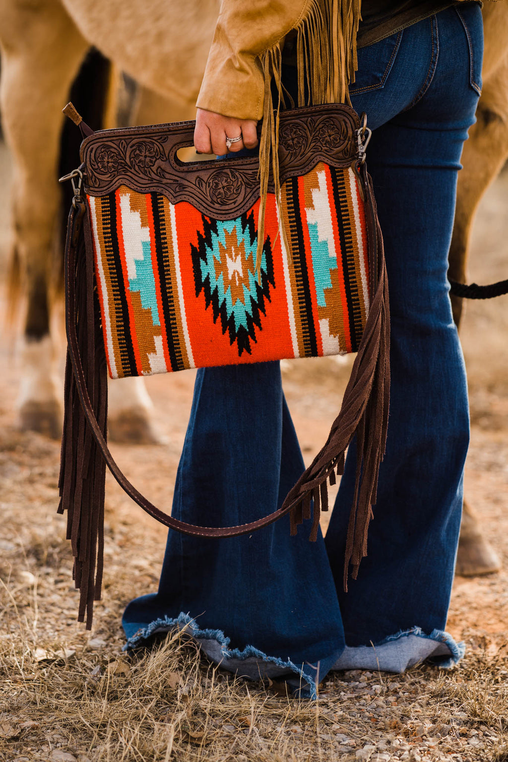 SADDLE UP PURSE (RED HOT TURQUOISE)