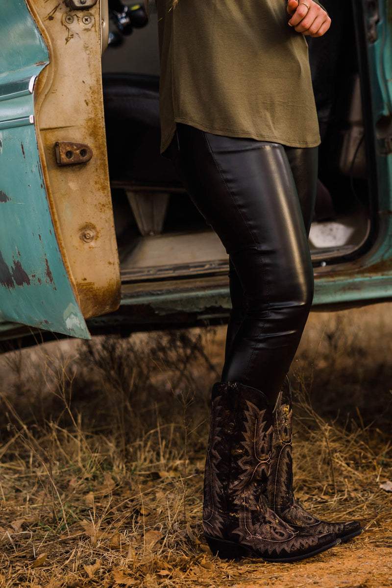BLACK LEATHER MID RISE SKINNY PANT