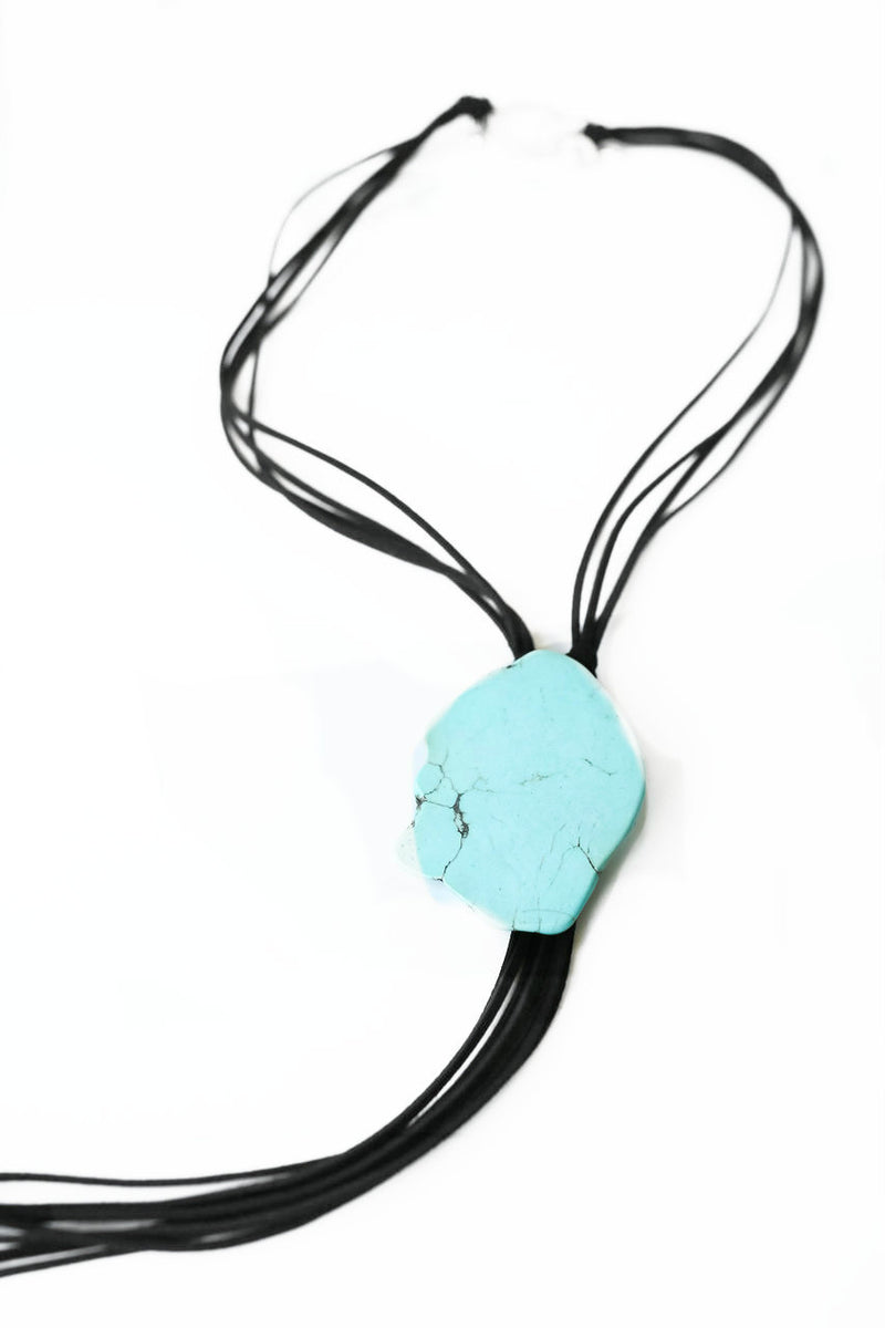 Rockin Turquoise Stone Necklace Black Leather by West & Co.