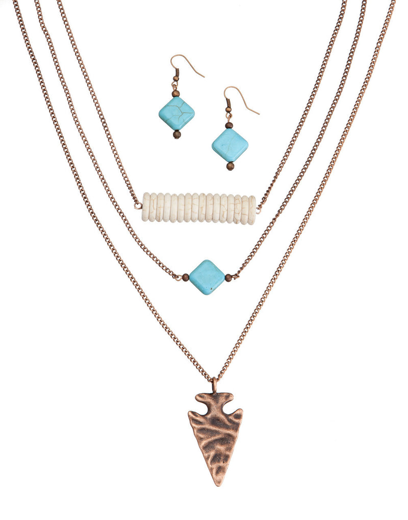 Burnin' Copper Arrowhead Necklace with Turquoise and Ivory by West & Co.