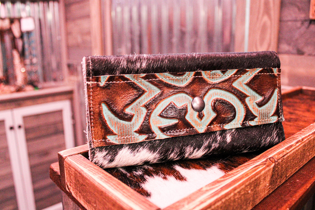 Western Road Wallet- Turquoise/Brown Leather