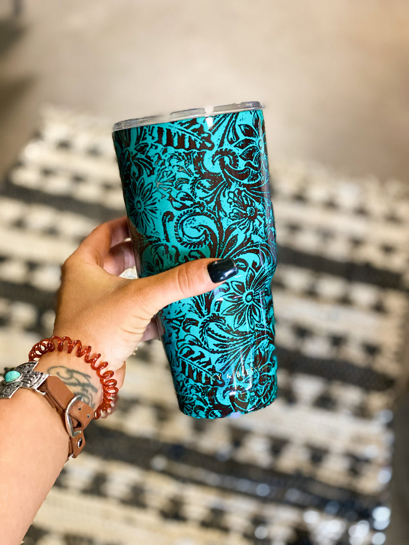 Large Turquoise Tooled Tumbler