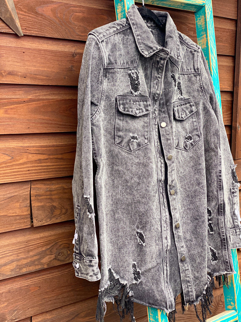 Black Denim Cowtown Jacket