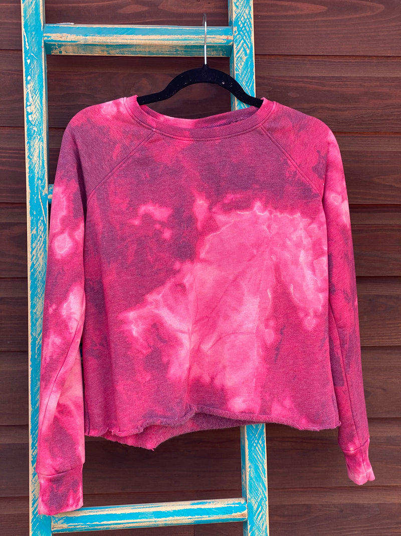 Bleached Cropped Pink Sweater