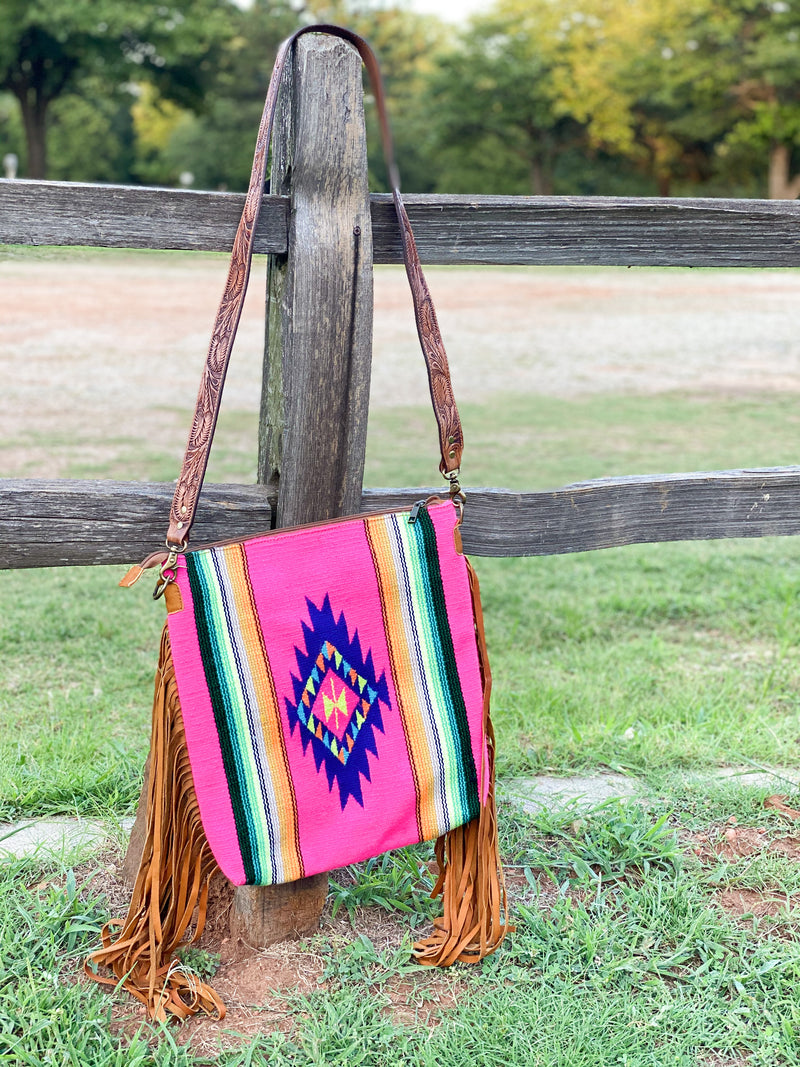 Colorado Messenger- Hot Pink Tooled