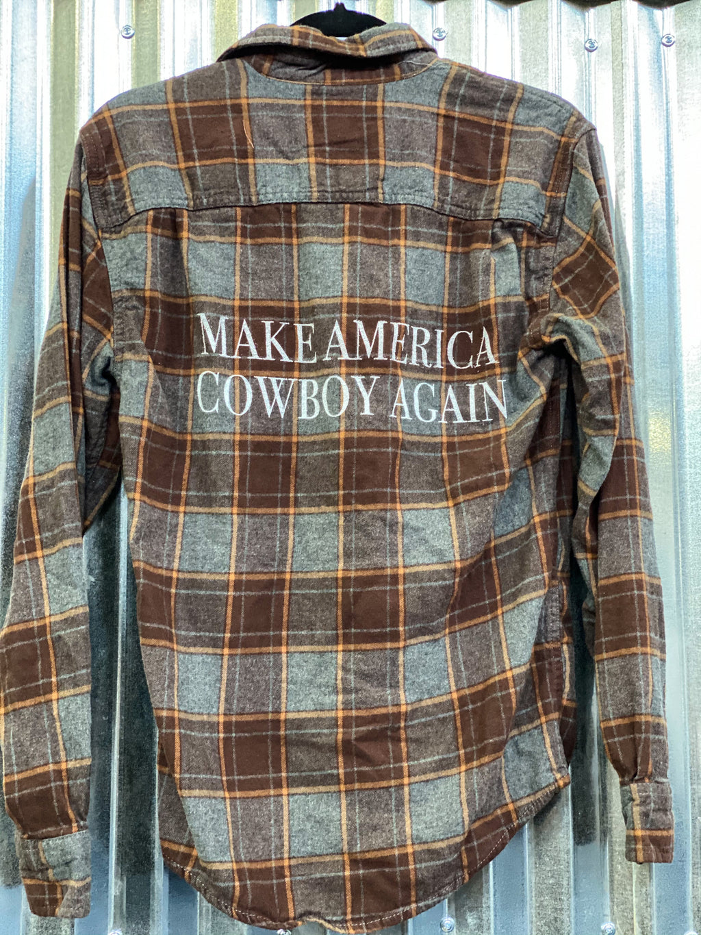 Make America Cowboy Again Flannel- Rustic brown