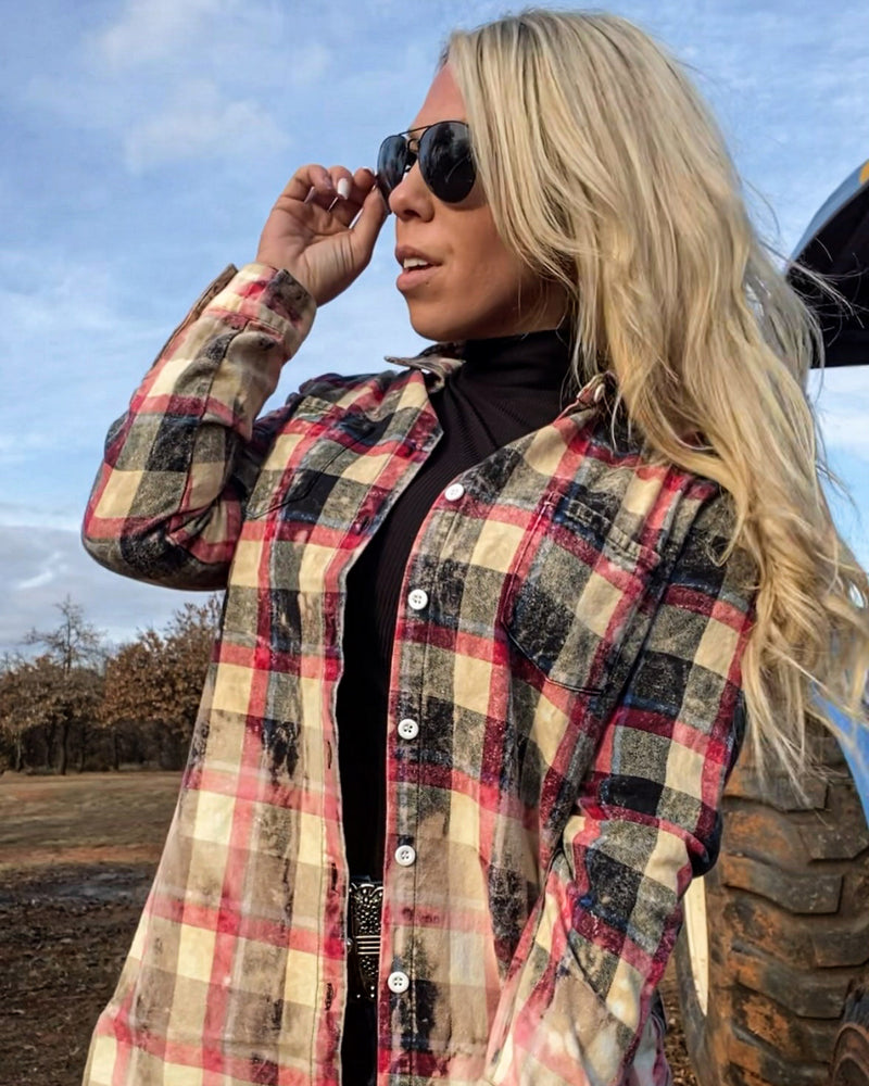 Acid wash plaid button down