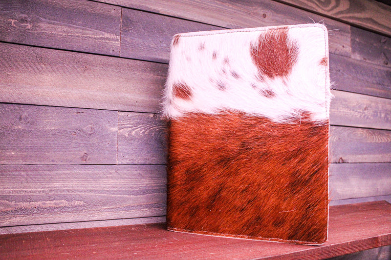 Brown/ White Cowhide Portfolio