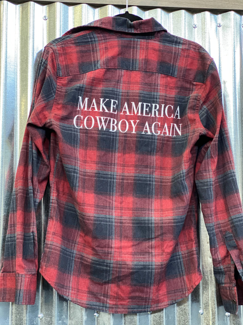 Make America Cowboy Again Flannel- Red