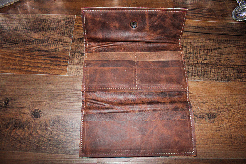 Western Road Wallet- White/ Brown Leather