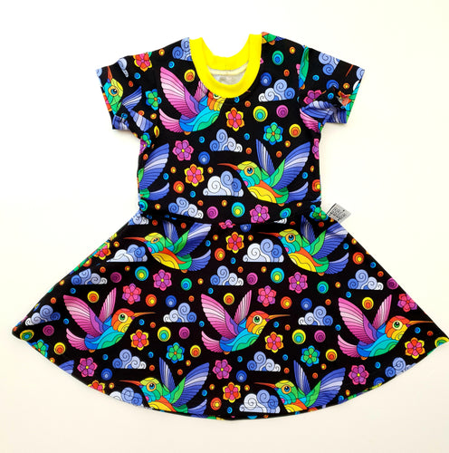 Rainbow humming birds dress