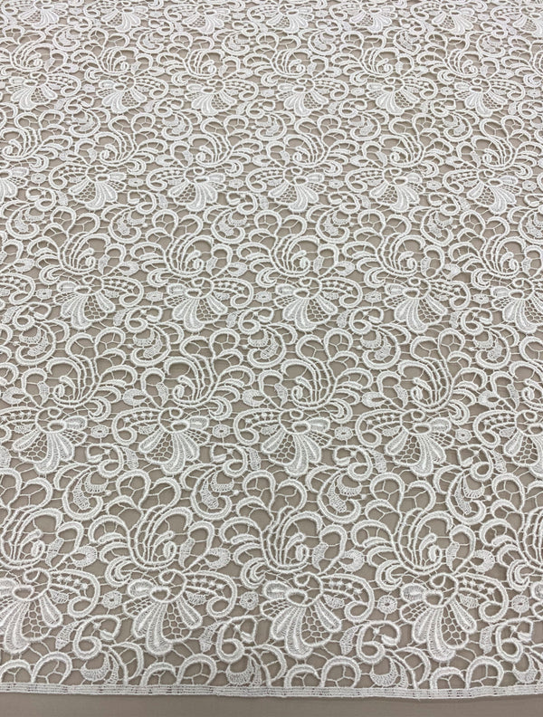 Floral Guipure Lace (1232) Ivory