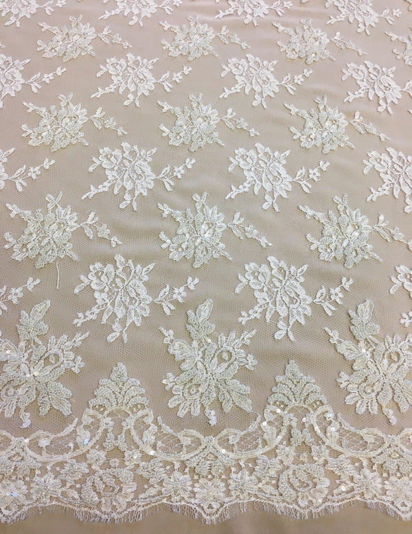 Beaded Chantilly lace (1253bd) White
