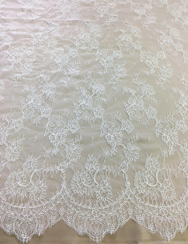 Fine corded lace (1304) White