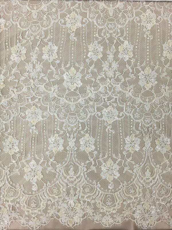 Fine beaded lace (1305bd) Ivory