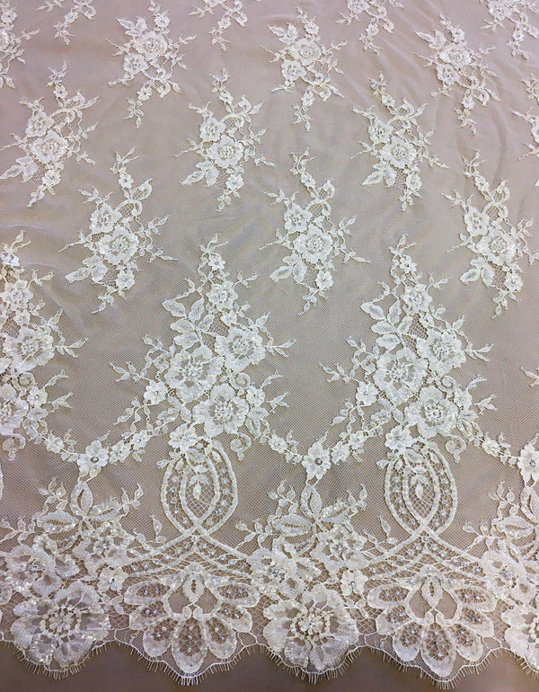 Fine beaded lace (1354bd) Ivory