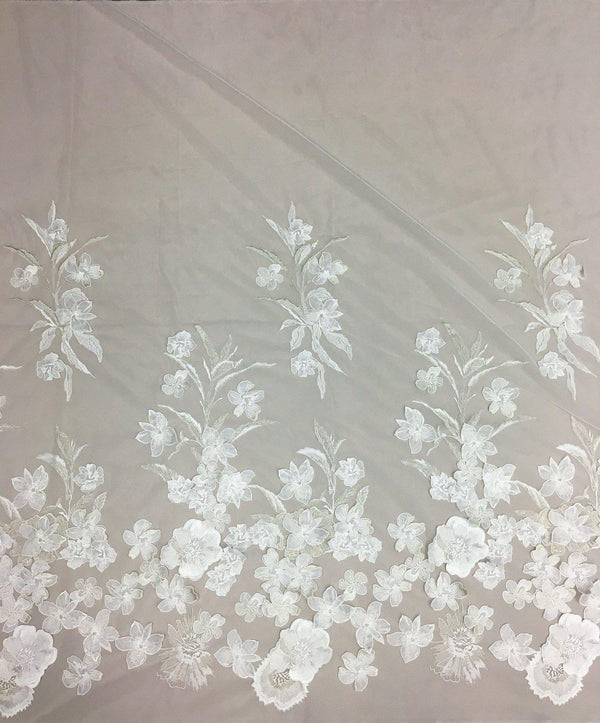 3D Embroidered tulle (1361) Ivory