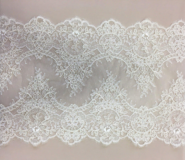Corded fine lace trim (1364t) Ivory
