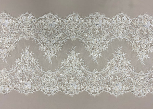 Beaded fine lace trim (1364bt) Ivory