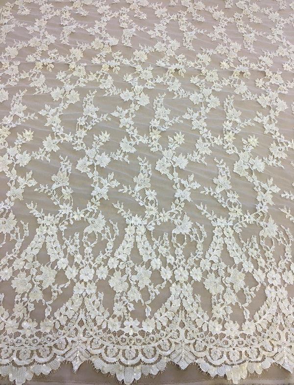 Beaded Fine lace (1375bd) Ivory
