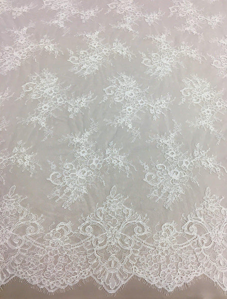 HEAVY WOVEN CORDED FLORAL  LACE-IVORY-DRESS//BRIDAL FABRIC-FREE P/&P