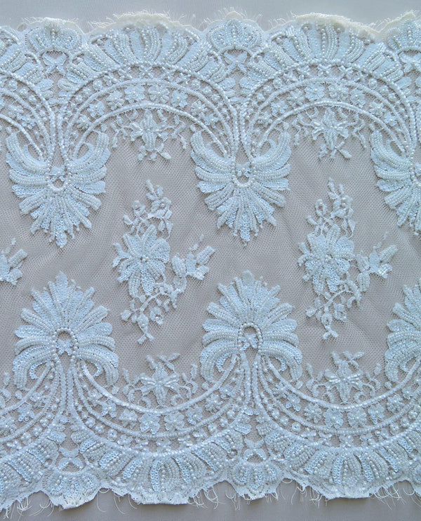 Fine Beaded Lace Trim (1530bt) Ivory