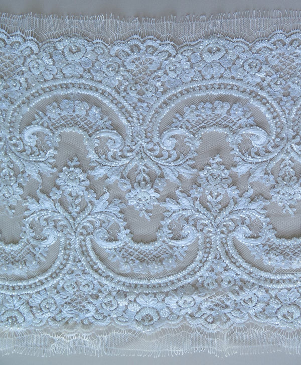 Hand Beaded Lace Trim (1613bt) Ivory