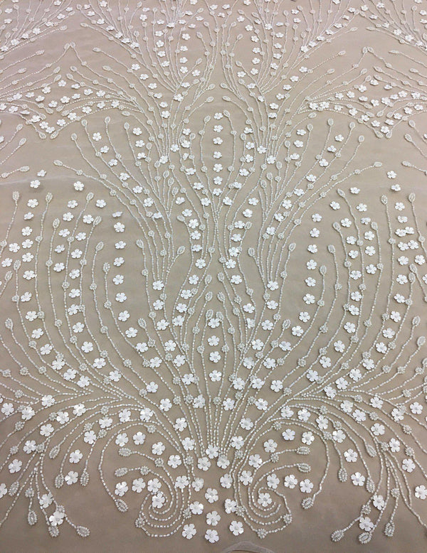 Floral Beaded Tulle (K24512) 1/Ivory