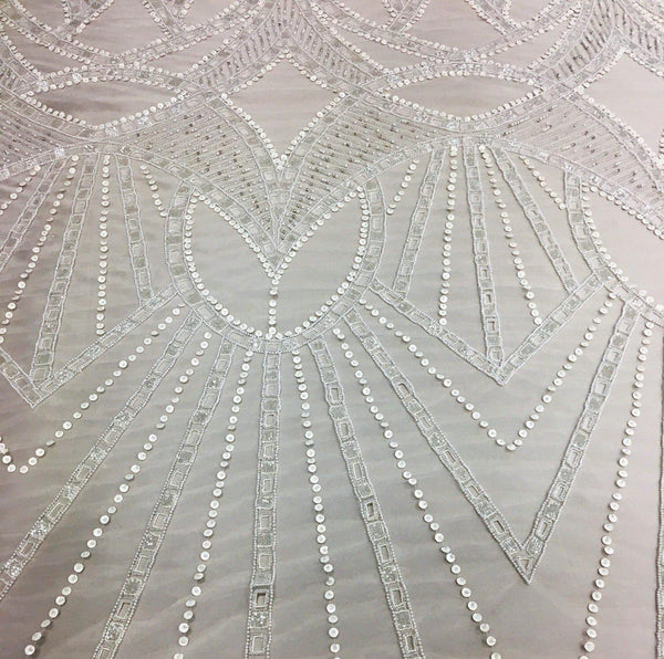 Cut Out Beaded Tulle (K24911) Ivory