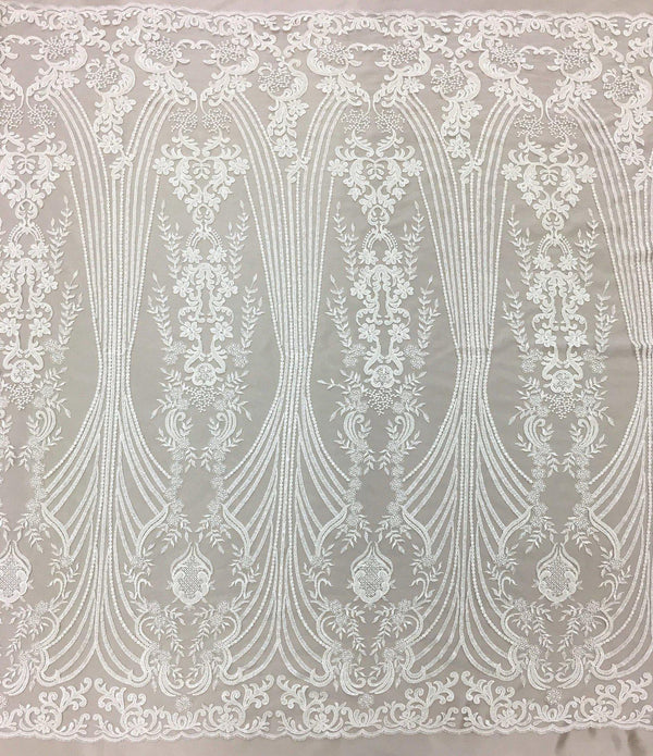Ornamental Embroidered Tulle Lv-10383 Ivory