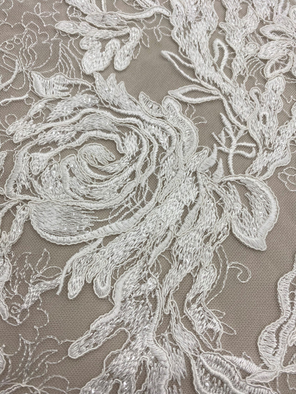 Embroidered Floral Tulle (LV11246) All Ivory