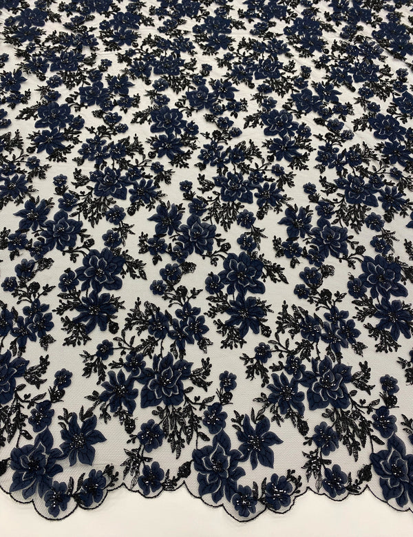 3D Floral Tulle  (W31314) Navy