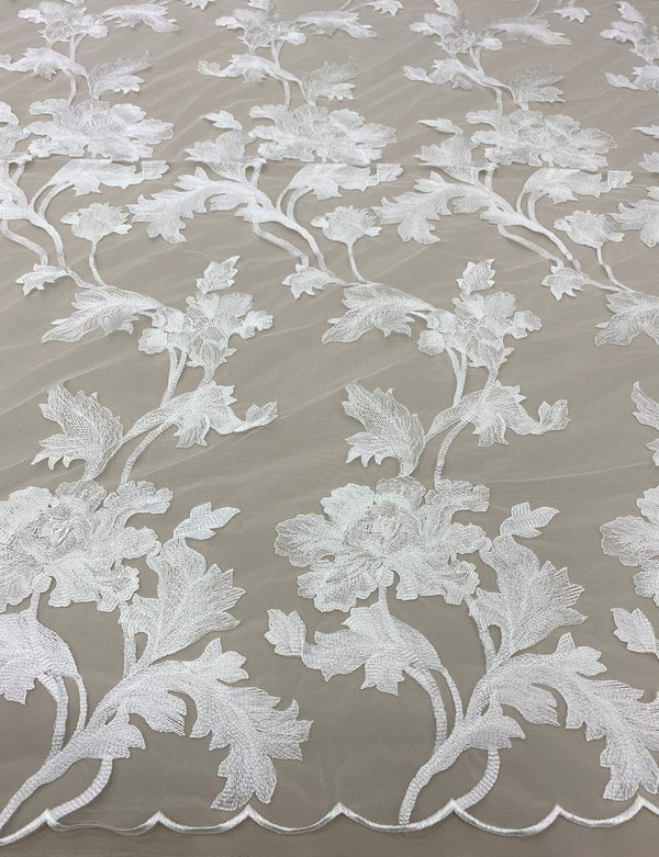 Floral Embroidered Tulle (W32155) Ivory