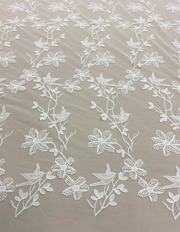 Bird Embroidered Tulle (ZC037) Ivory
