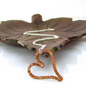 Copper Hammered Heart Necklace