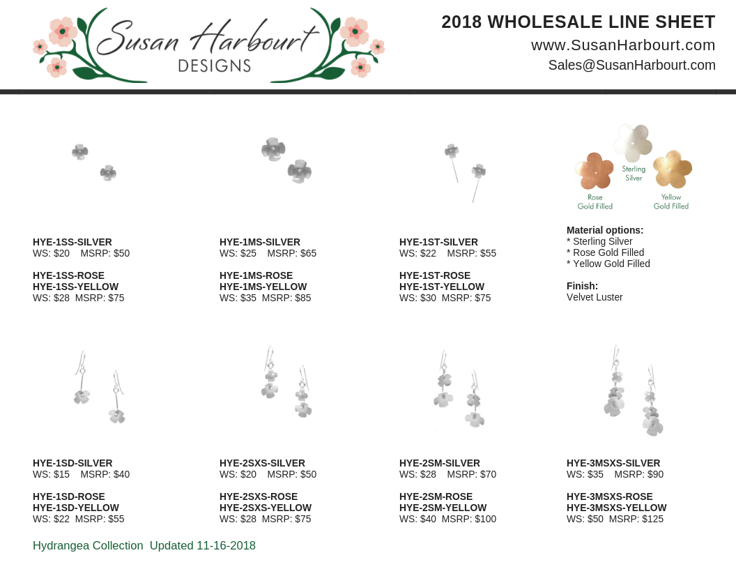 Susan Harbourt Designs Line Sheet