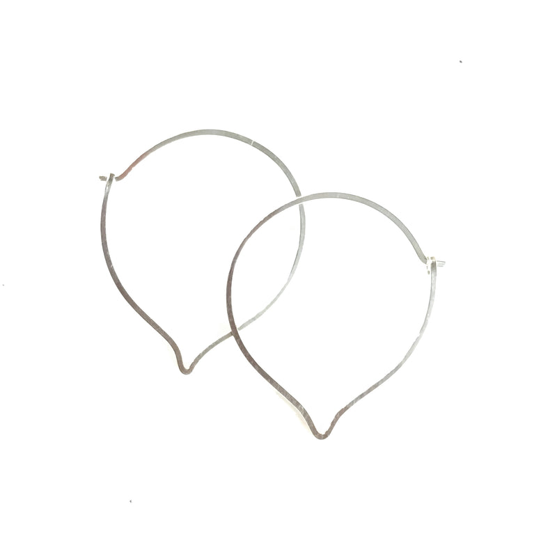 Lotus Petal Hoop Earrings available in Sterling Silver, Rose Gold, Yellow Gold, Copper, Bronze