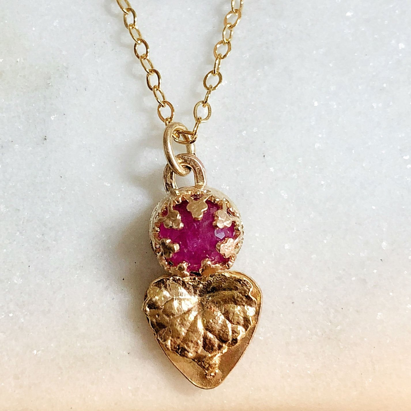 Ruby Rose Bud and Golden Leaf Pendant Necklace