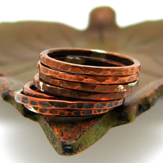 Copper Stacking Ring, Tree Bark Texture