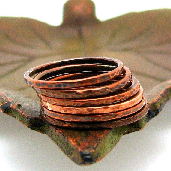 Copper Stacking Ring, Coral Reef Texture