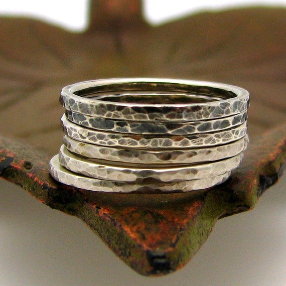Sterling Silver Stacking Ring, Coral Reef Texture