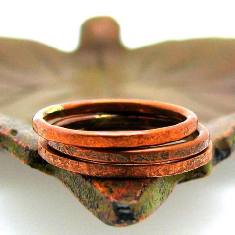Copper Stacking Ring, Slate Texture