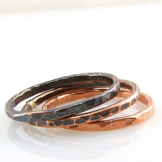 Ombre' Trio of Copper Stacking Ring