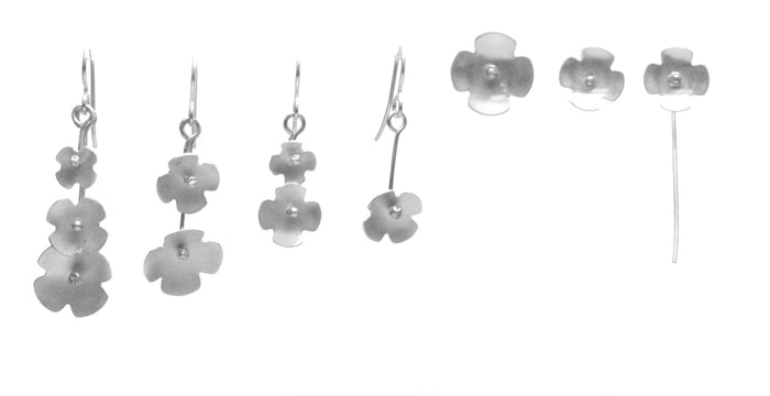 Forget-Me-Not Earrings, Double Blossom Drop available in Sterling Silver, Rose Gold, Yellow Gold, Copper, Bronze