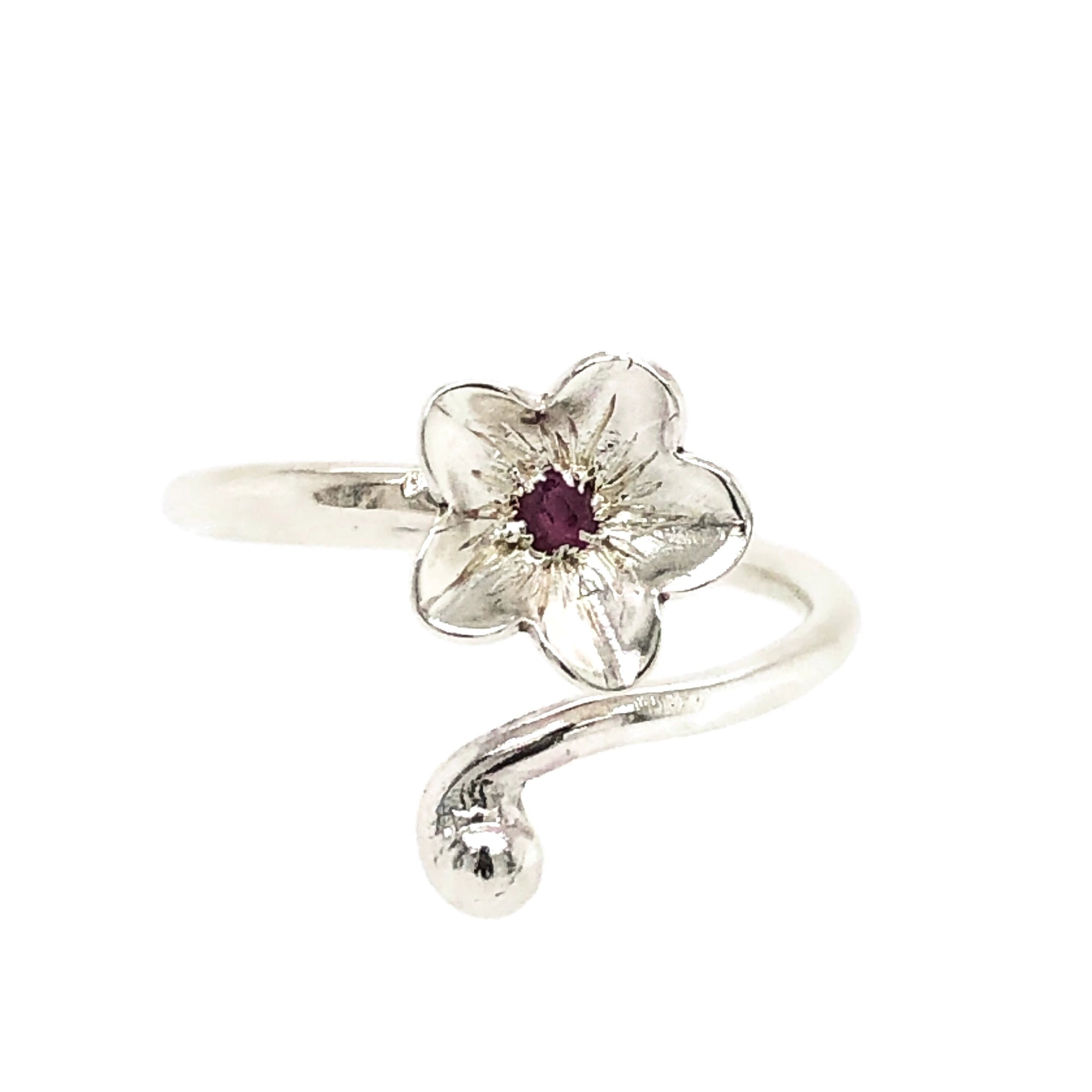 Rose Cut Pink Ruby Blossom and Bud Tendril Wrap Stacking Ring