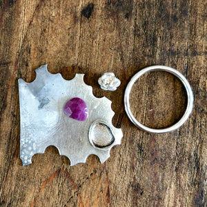 Pink Rose Cut Sapphire and Silver Succulent Ring, Size 7
